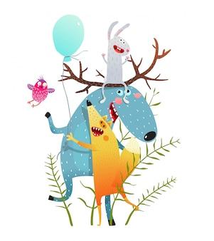 Cartão bonito do pássaro do coelho do fox dos alces