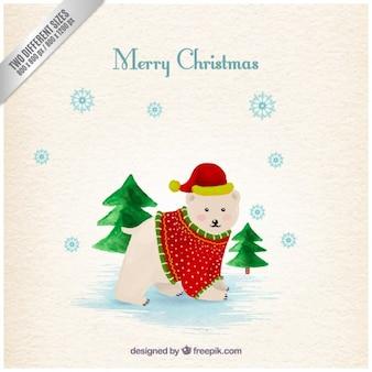 Cartão bonito do urso polar