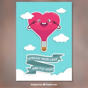 Cartão bonito do valentim com balão de ar quente em forma de coração