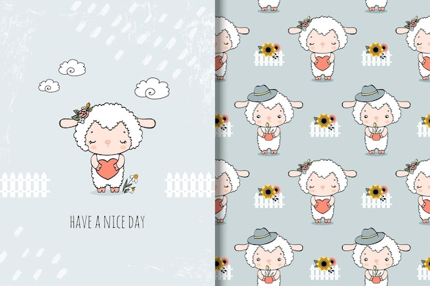 Cartão bonito dos desenhos animados de ovelha e padrão sem emenda. ilustração desenhada à mão
