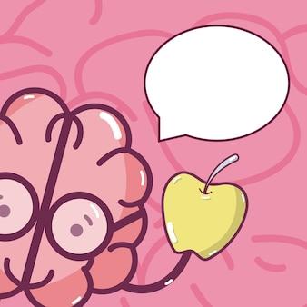 Cartão bonito dos desenhos animados do cérebro
