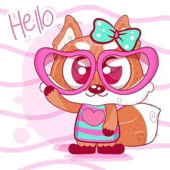 Cartão bonito dos desenhos animados raposa