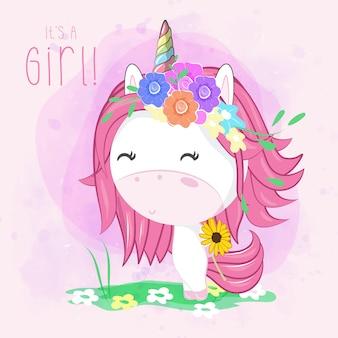 Cartão bonito dos desenhos animados unicórnio com flores - vector