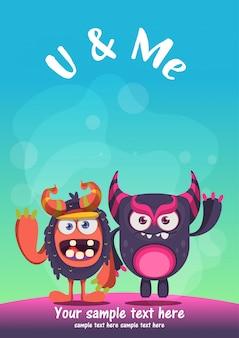 Cartão bonito dos melhores amigos do monstro