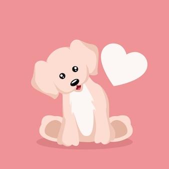 Cartão bonito dos namorados do cão de filhote de cachorro