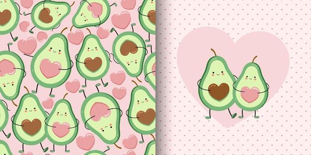 Cartão bonito e padrão sem emenda com amantes de abacate.
