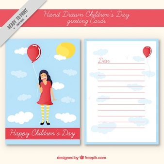 Cartão bonito feito à mão para o dia das crianças