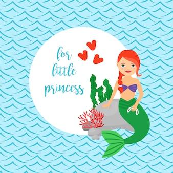 Cartão bonito para meninas com sereia