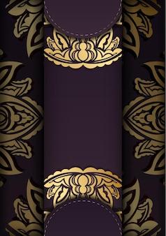 Cartão borgonha com estampado de ouro vintage para a sua marca.