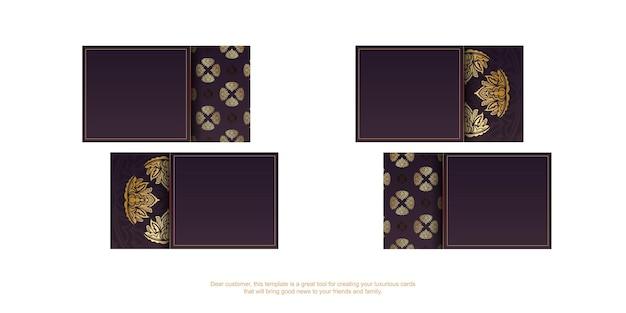 Cartão borgonha com padrão vintage ouro para seus contatos.