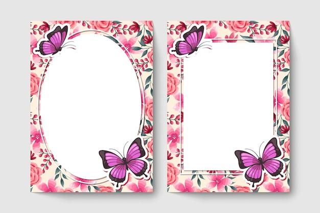 Cartão botânico com flores de cor rosa, folhas, borboleta.