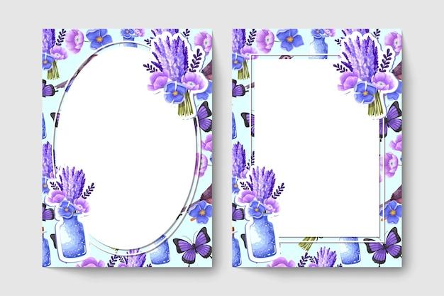Cartão botânico com flores de cor roxa, folhas, frasco.