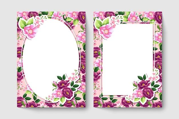 Cartão botânico com flores de cor vermelha e rosa, folhas.