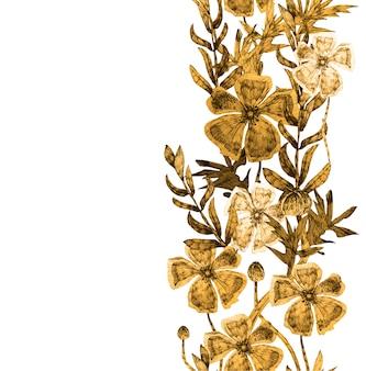 Cartão botânico com flores silvestres, folhas.