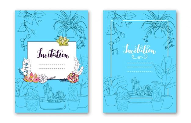 Cartão botânico com plantas de casa