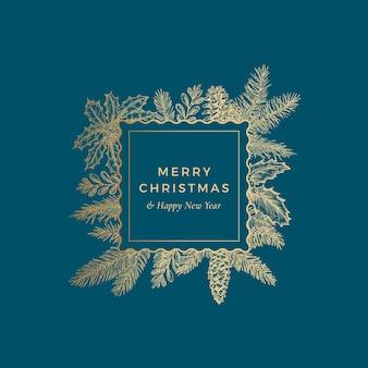Cartão botânico de feliz natal