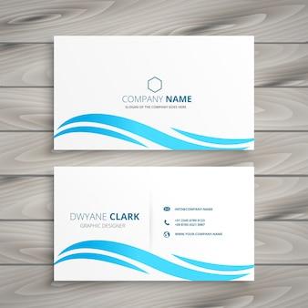 Cartão branco com onda azul