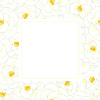 Cartão branco da bandeira da flor da camélia