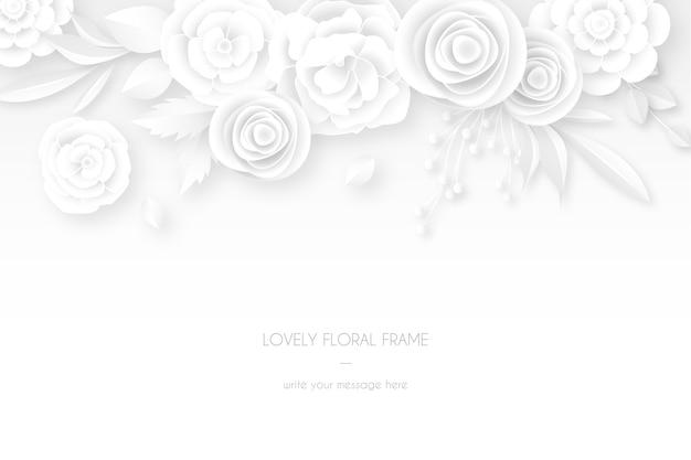 Cartão branco elegante com decoração floral branca
