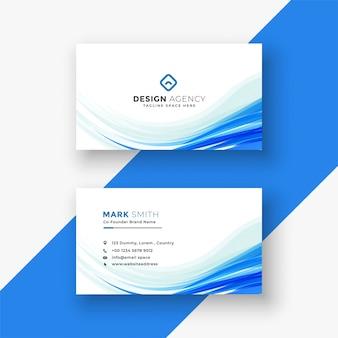 Cartão branco elegante com onda azul