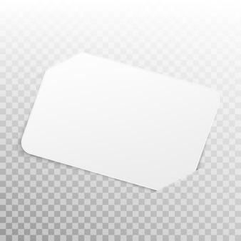 Cartão branco sobre fundo transparente. maquete com espaço de cópia. e também inclui