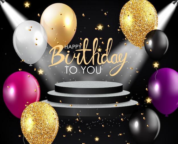 Cartão brilhante dos balões do feliz aniversario
