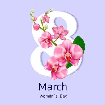 Cartão brilhante para o dia das mães com orquídea