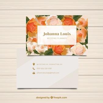 Cartão busienes com backgroud floral