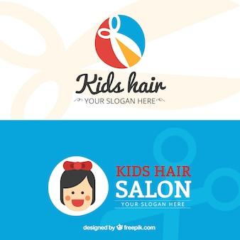 Cartão business flat crianças hair salon