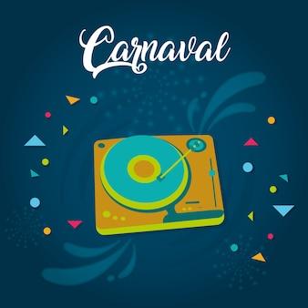 Cartão carnaval feliz com elementos decorativos