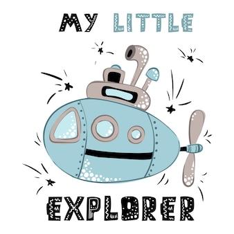 Cartão, cartaz com desenho animado submarino e lettering