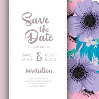 Cartão casamento, com, flor