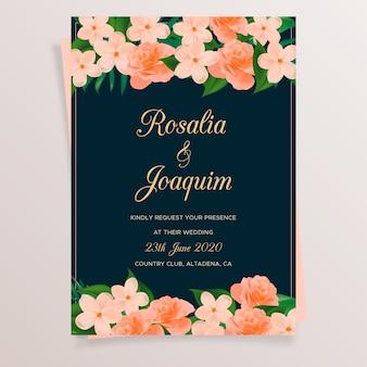 Cartão casamento, com, flores