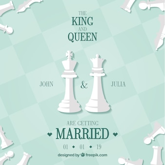 Cartão casamento, com, xadrez, pedaços