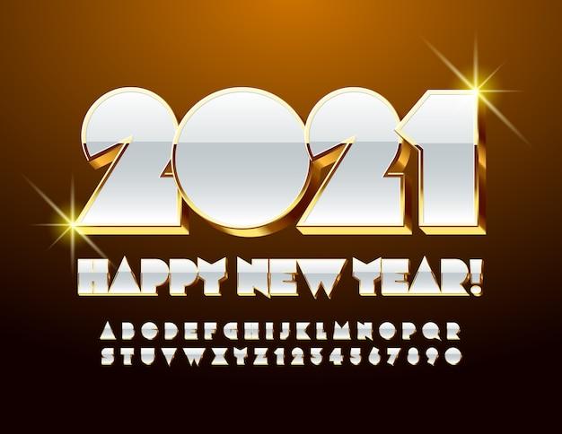 Cartão chique do vetor feliz ano novo 2021! fonte brilhante dourada e branca. conjunto de letras e números abstratos de luxo