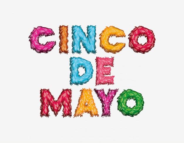 Cartão cinco de mayo com cores de fonte