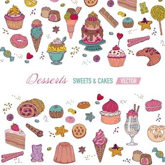 Cartão colorido com bolos, doces e sobremesas