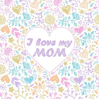 Cartão colorido com flores e corações.