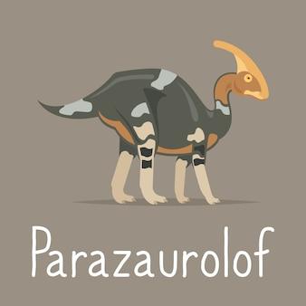 Cartão colorido de dinossauro de parazaurolof