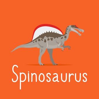 Cartão colorido de dinossauro spinosaurus