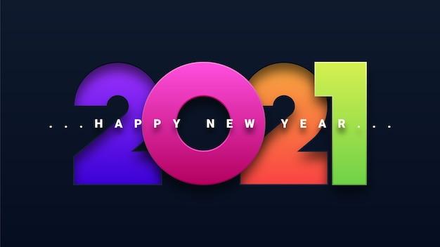 Cartão colorido de feliz ano novo 2021