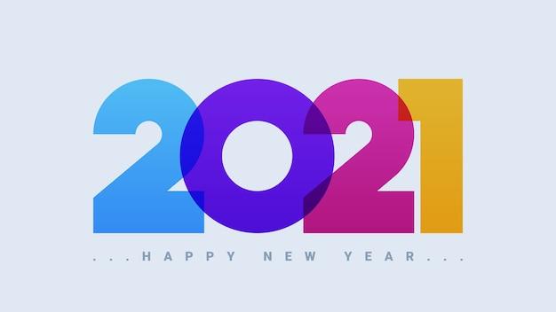 Cartão colorido de feliz ano novo de 2021