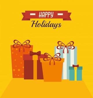 Cartão colorido de feliz natal