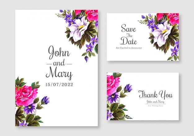 Cartão colorido de flores casamento definir modelo de fundo