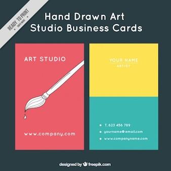 Cartão colorido do estúdio de arte