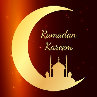 Cartão com a mesquita na noite para felicitações com começo do mês de jejum do ramadã. ramadan kareem vector illustration