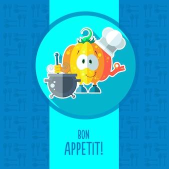 Cartão com abóbora de desenhos animados de chef