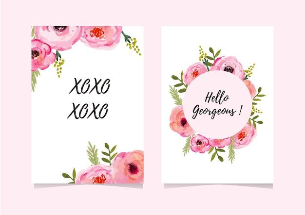 Cartão com aquarela estilo flor solta