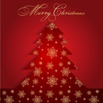 Cartão com árvore de natal com flocos de neve