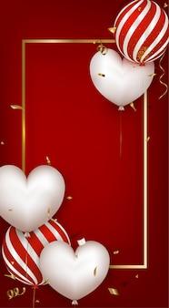 Cartão com balões brancos e balões listrados vermelhos